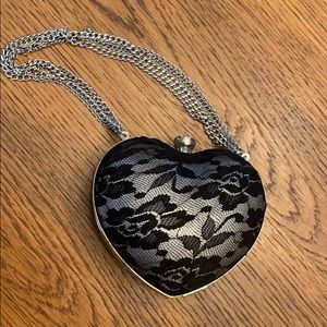 Betsey Johnson mini heart clutch